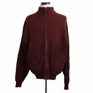 Cabelas Outdoor Gear Zip Up Wool Sweater Maroon